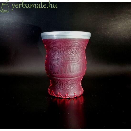 Matero Playadito - üveg mate kehely bőr borítással , Playadito logóval - bordó
