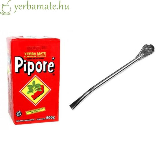 Yerba Mate Tea, Piporé 500g + Bombilla Gaucho L csomag