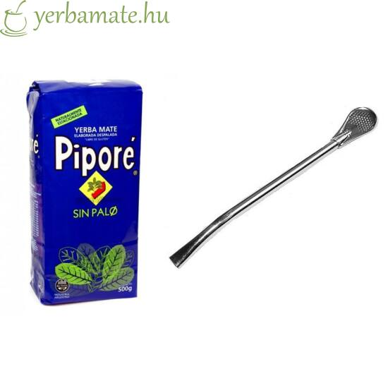 Yerba Mate Tea, Piporé Sin Palo 500g + Bombilla Gaucho L csomag