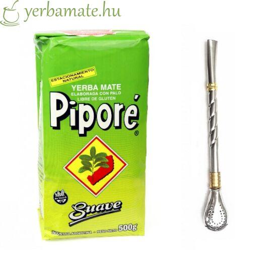 Yerba Mate Tea, Piporé Suave 500g + Bombilla Guitarra csomag