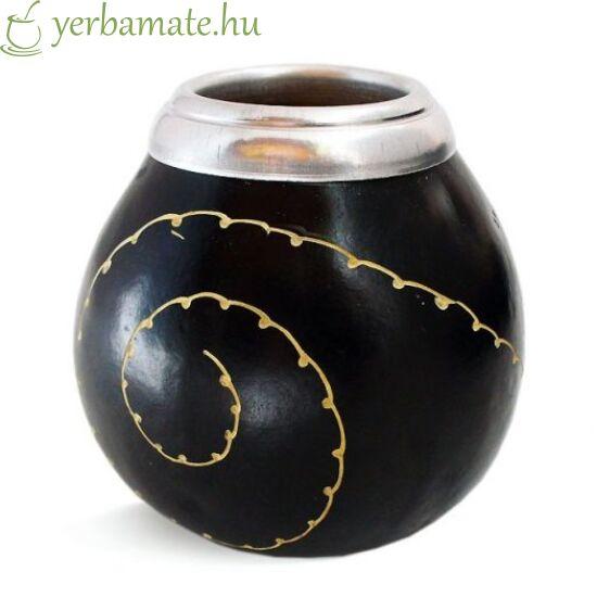 Tradicionális kézműves mate tök (Calabaza), fekete, fehér mintával maxi 450 -750 ml