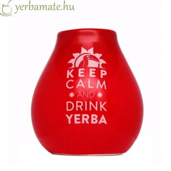 Piros kerámia mate tök (Calabaza)  Keep Calm Mate logóval 350 ml