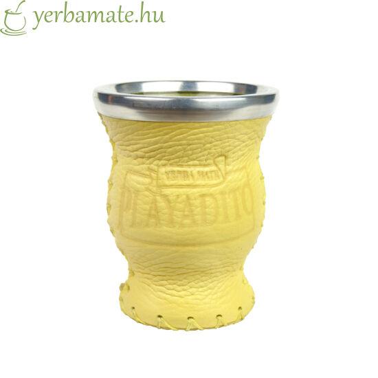 Matero Playadito - üveg mate kehely bőr borítással , Playadito logóval - világosbarna