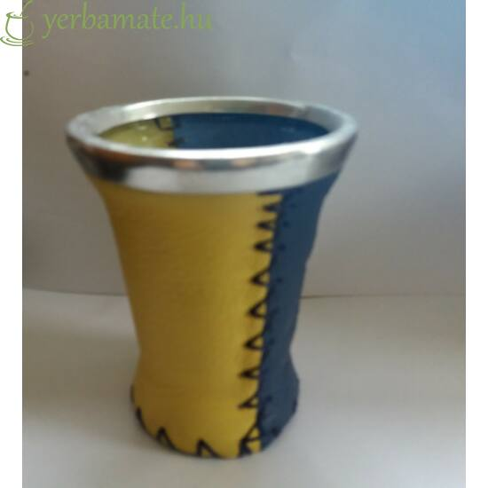Matero Pipore - üveg mate kehely bőr borítással , Pipore logóval - kék-sárga