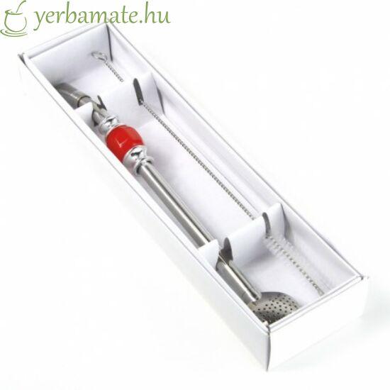 Bombilla DeLuxe, piros, rozsdamentes (szívószál) 21cm