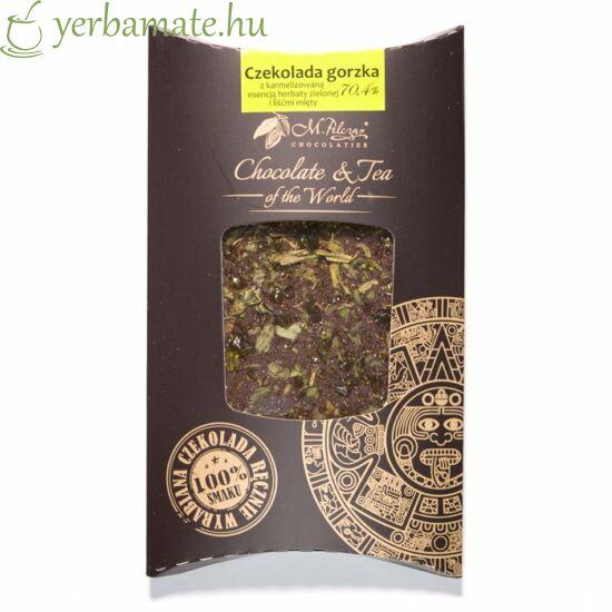 Csokoládé zöld teával és mentával 85g