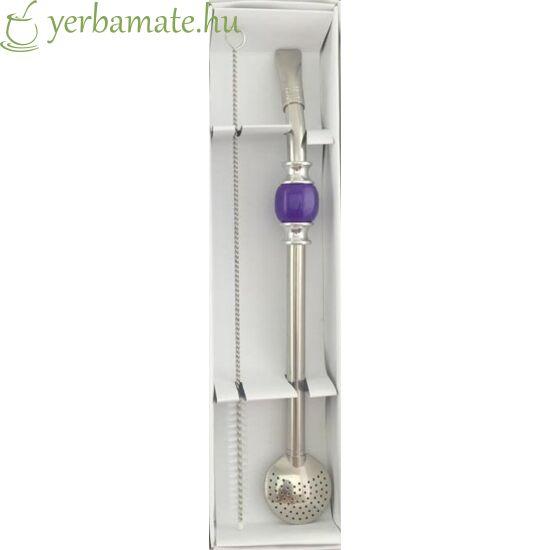 Bombilla DeLuxe, lila, rozsdamentes (szívószál) 21cm