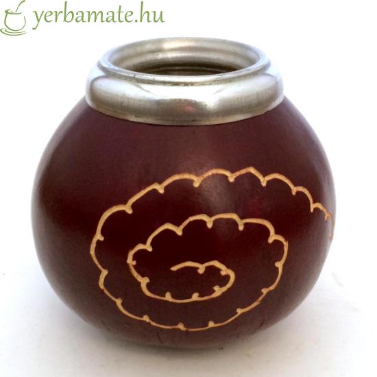 Tradicionális kézműves mate tök (Calabaza), bordó, fehér mintával 450 - 750 ml